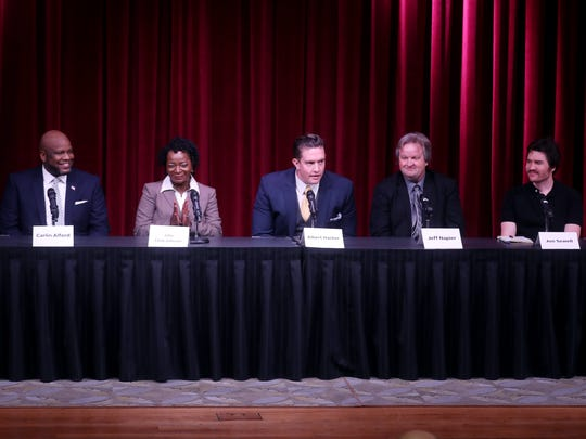 Carlin Alford, Julia Clark-Johnson, Albert Hacker, Jeff Napier and Jon Sewell participate in a mayoral debate hosted by The Tennessean and WSMV at the Nashville Public Library Downtown branch Wednesday May 2, 2018.