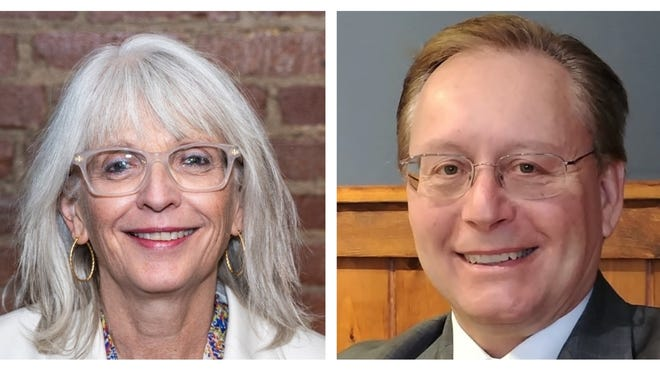 "Democrat Susan Moran, left, and Republican James ""Jay"" McMahon are vying for a seat on the State Senate to represent the Plymouth-Barnstable District in the upcoming Nov. 3 general election."