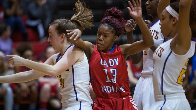 Montgomery Central and Clarksville High battle for the ball during their game on February 15, 2018.