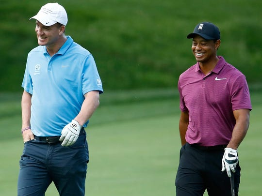 DUBLIN, OH - MAY 30:  Peyton Manning and Tiger Woods walk down the fairway on the second hole during the Pro-Am of The Memorial Tournament Presented By Nationwide at Muirfield Village Golf Club on May 30, 2018 in Dublin, Ohio.  (Photo by Andy Lyons/Getty Images)