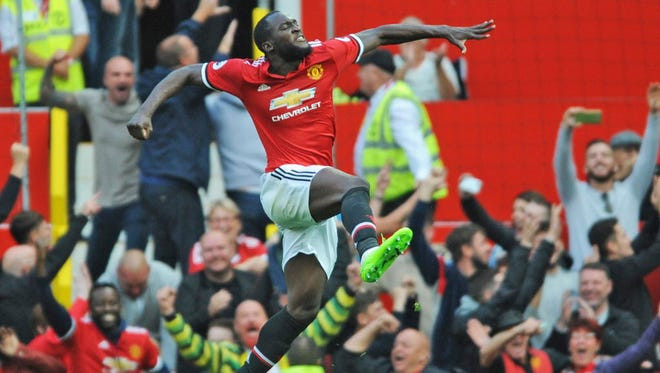 Manchester United's Romelu Lukaku celebrates after scoring during the Premier League match against Everton at Old Trafford.