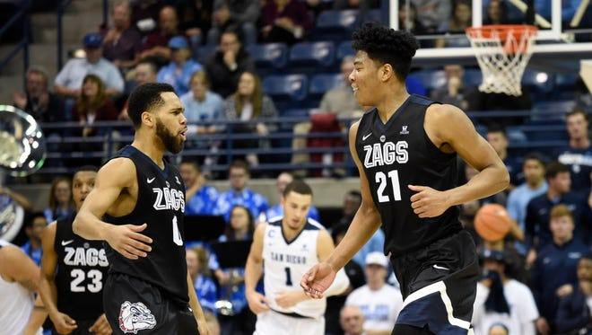 Gonzaga forward Rui Hachimura, right, is congratulated by Silas Melson (0) after scoring during the second half against San Diego.