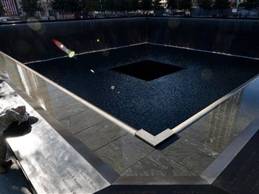 The South Pool of the World Trade Center Memorial in New York. (AP Photo/Justin Lane)