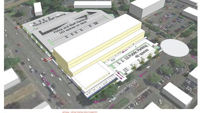A mock-up of the plans for 148,000-square-foot police at Commercial Street NE and Division Street NE.