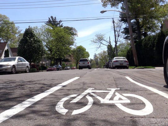 A bicycle lane on Larchmont Avenue in Larchmont.