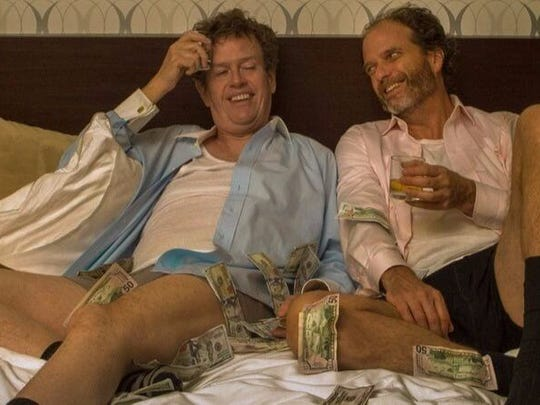 Dylan Baker, left, and Lou Jay Taylor star as two drunken