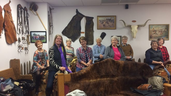 Irion County Expension Education Club members Pamela Hale, Joyce Aiken, Sue McClung, Frances Grice, Jeannette Hobbs, J.Ann Lange, Peggy Steger, Sue Redman, and Becky Tankersley Lange, pose for a snapshot before viewing a short filmat Fort Chadbourne.