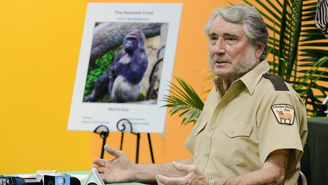 Gladys Porter Zoo facilities director Jerry Stones speaks to members of the media about his memory of Harambe.