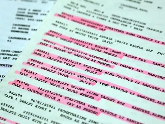A list of prescriptions for Raul Laguerre Jr. when
