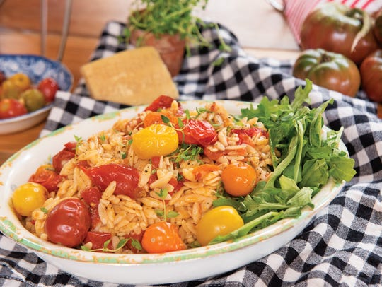 Roasted tomato and pepper orzo