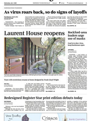 A new-look Rockford Register Star debuts on Wednesday, July 1, 2020.