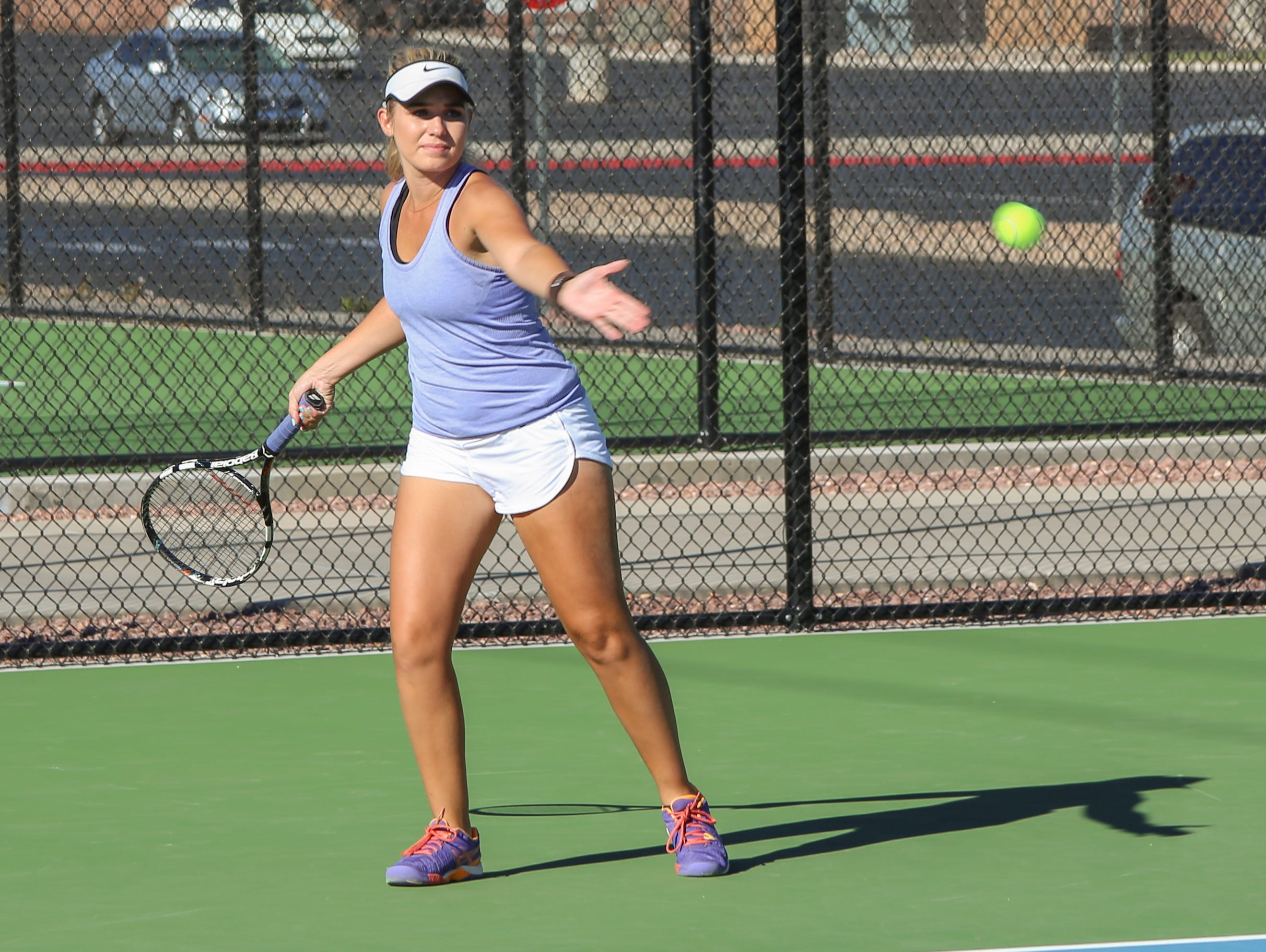 Pine View's Hattie Erekson hits a forehand at practice as she prepares for the upcoming 3A State Tournament, Tuesday, October 4, 2016.