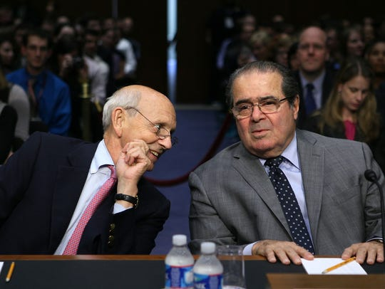 Justices Stephen Breyer and Antonin Scalia in October