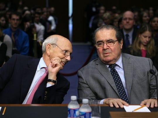 Justices Stephen Breyer and Antonin Scalia in October