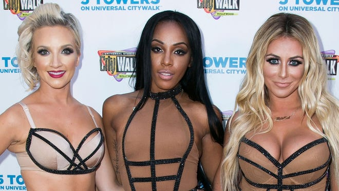 """UNIVERSAL CITY, CA - JULY 10:  (L-R) Shannon Bex, Dawn Richard and Aubrey O'Day of Danity Kane attend Universal CityWalk's """"Music Spotlight Series"""" at Universal CityWalk on July 10, 2014 in Universal City, California.  (Photo by Vincent Sandoval/Getty Images)"""
