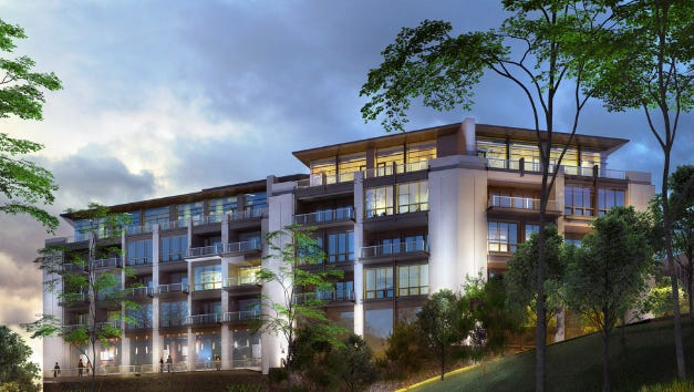 An architectural rendering of the $80 million Brookside Terrace development overlooking the Rouge River.