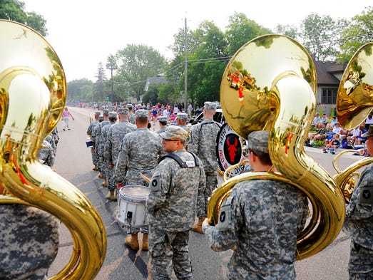 The 34th infantry division Red Bull band prepares to