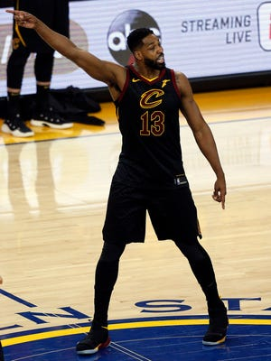 Cleveland Cavaliers center Tristan Thompson reacts after he is ejected following an altercation with Golden State Warriors forward Draymond Green during overtime in Game 1 of the 2018 NBA Finals.