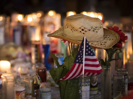 A memorial on the Las Vegas Strip on Oct. 8, 2017.