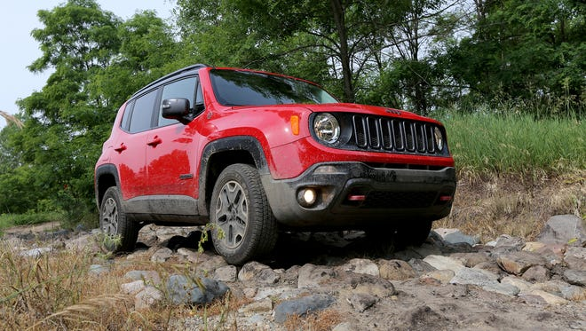 """2015 Jeep Renegade TrailHawk on the road during the FCA  """"Whats New"""" event at the Chelsea Proving grounds on Friday."""
