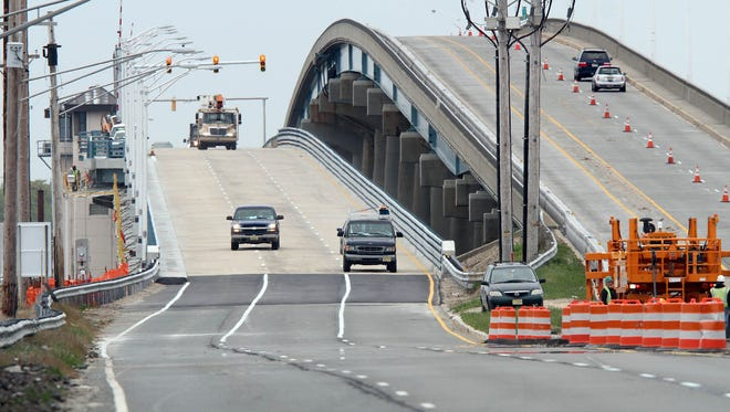 What it's supposed to look like: Route 37 eastbound traffic normally flows over the Thomas A. Mathis Bridge in this view from Pelican Island on May 10.