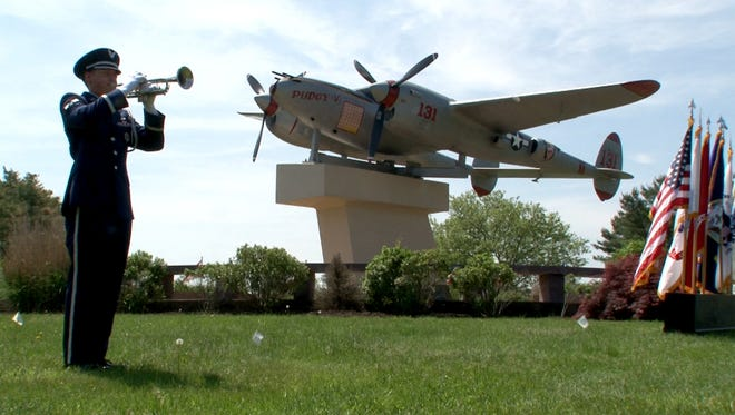 "Major Thomas McGuire's restored ""Pudgy V"" is displayed at Joint Base McGuire-Dix-Lakehurst."