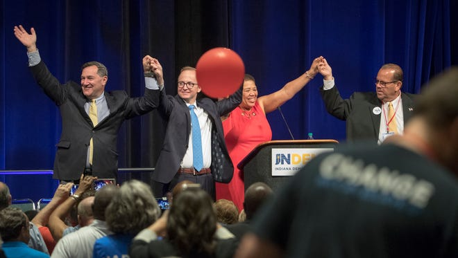 Candidates on the democratic ticket greet convention-goers at the Indiana Democratic State Convention, Indianapolis, Saturday, June 16, 2018.