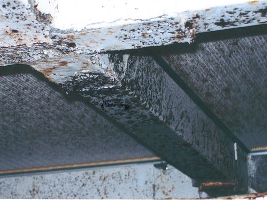 Whistleblower Chris Wall captured this image of moldy filters at Baxter's manufacturing facility in Marion, and it led to a 2012 FDA investigation.