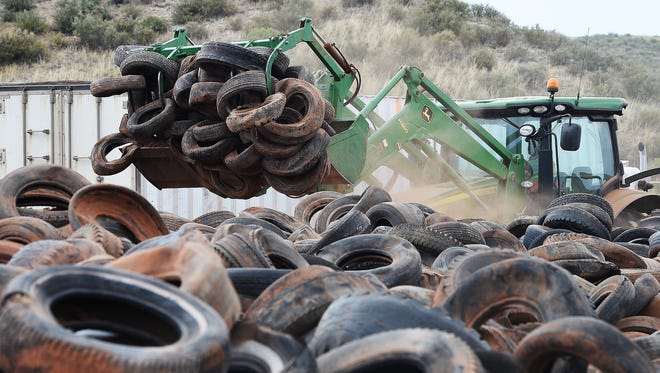 The removal of an estimated 200,000 to 300,000 tires from Roberts Ranch near Livermore was nearing completion on Thursday, August 25, 2016. The tires will be recycled into rubber mulch. Larimer County received a grant of about $495,000 from the state for the cleanup.