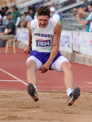 Merke's Zach Owens prepares to land during the Class 3A boys long jump at the UIL State Track and Field Championships at the University of Texas' Mike A. Myers Stadium in Austin on Friday, May 11, 2018. Owens finished in third to win the bronze medal with a jump of 22 feet, 3 inches.