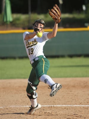 Cedar Creek's Mary Terral pitches against Calvary here earlier this year.