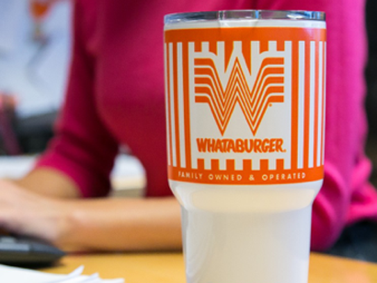 The YETI tumblers are available at Shop.Whataburger.com