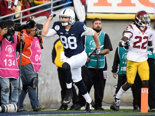 Penn State tight end Mike Gesicki (file) celebrates his touchdown catch versus USC in the Rose Bowl last January