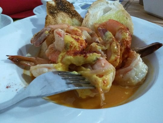 Inti's  Key West Shrimp was eight large shrimps sautéed