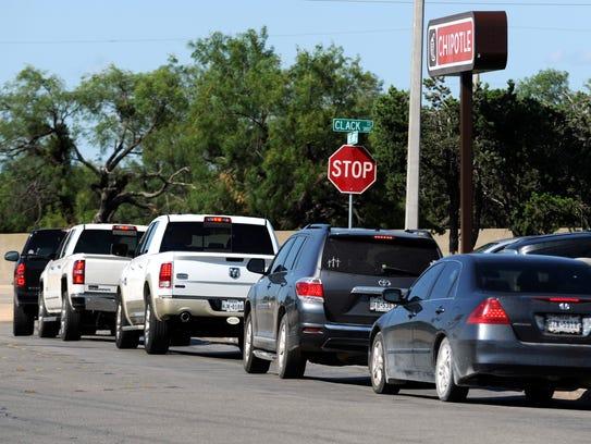 Traffic backs up Ridgemont Drive Wednesday June 28,