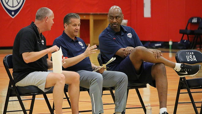 John Calipari, Danny Manning and Tad Boyle watch practice Sunday June 18, 2017 at Team USA training camp.