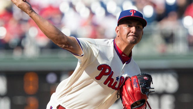 Phillies starting pitcher Severino Gonzalez pitches during the seventh inning Friday against the Arizona Diamondbacks at Citizens Bank Park. Gonzalez has added four mph to his fastball from a year ago and is now a reliever.