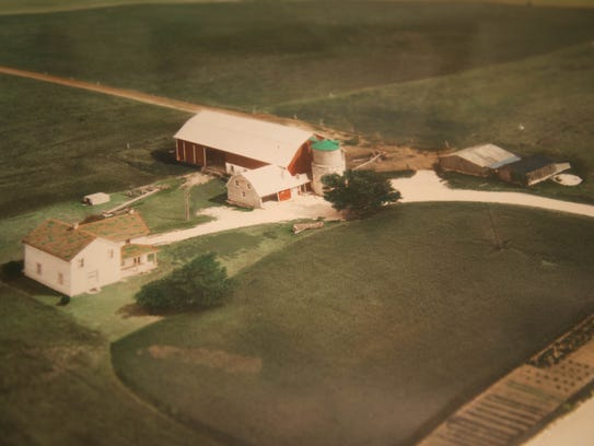 An aerial photo of the Welch farm before buildings