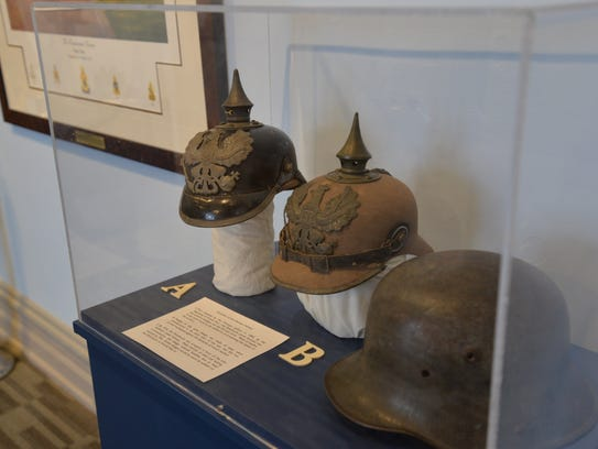 "German helmets on display in the new ""Hidden Treasures"""