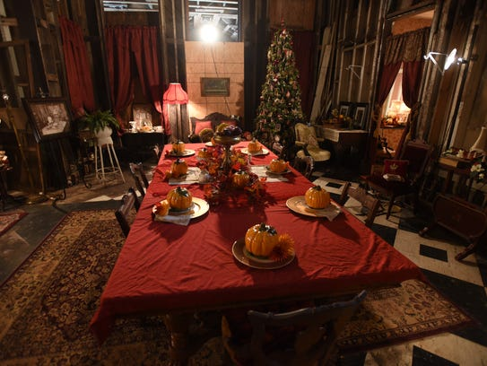 """The dining room tableis from Nebraska and fulfills a dream for Bryant.  """"I always wanted a grand dining room table. It has six leaves so can accommodate 15 diners, """" she said."""
