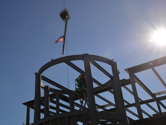 The final beam ceremony at Augusta Health on Thursday,