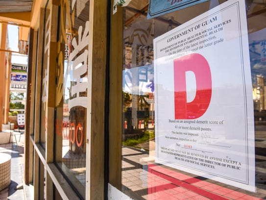 "A ""D"" rating health inspection placard can be found"
