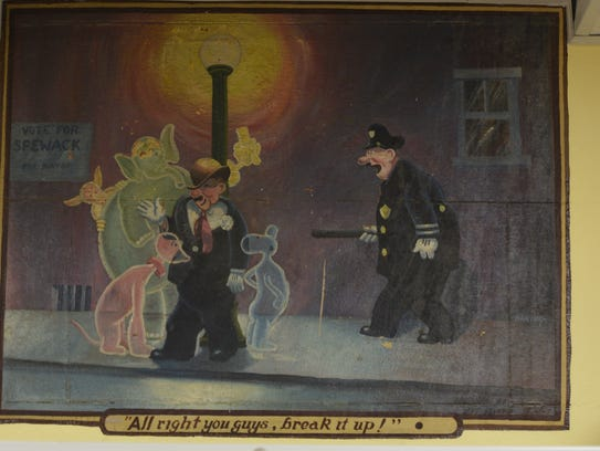 One of 11 WPA murals that are located in the basement