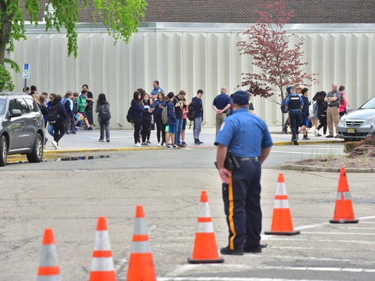 Students leave East Brook Middle School in Paramus,