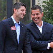 Congressmen Sean Duffy, right, and Paul Ryan, mingle during a fund raiser event for Sean Duffy Tuesday afternoon at Yawkey House Museum in Wausau.