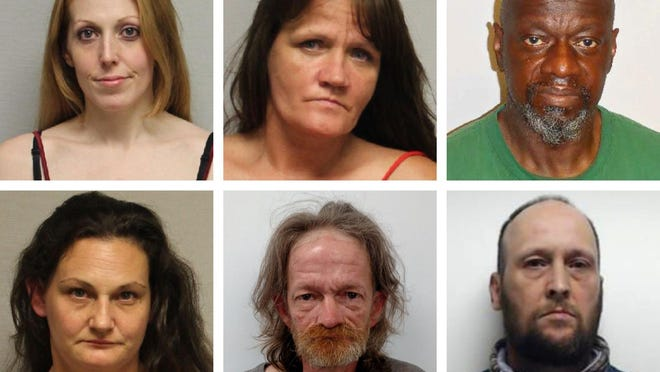 Suspects arrested in a Portsmouth police drug sweep are, top row, from left: Kenda Merrill, Michelle Almon and James Slater; and lower row, from left, Sherry Lavoie, Troy Donahue and Darien Muise.