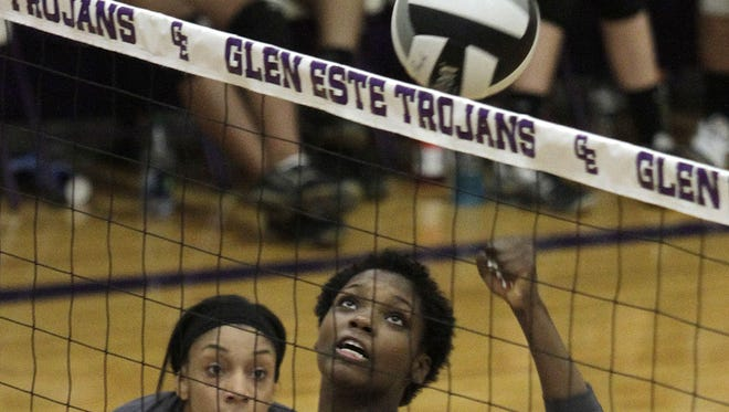 Princeton middle hitter Donovan Wingfield punches the ball back over the net in a four sets, 18-25, 27-25, 25-15 and 25-23 on Monday, Sept. 22.