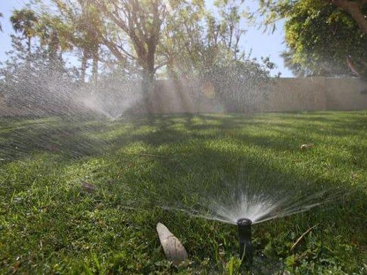 Sprinklers running