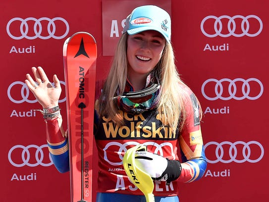 Mikaela Shiffrin of the United States after the women's
