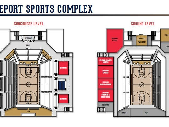 Renderings of the inside of the sports complex proposed